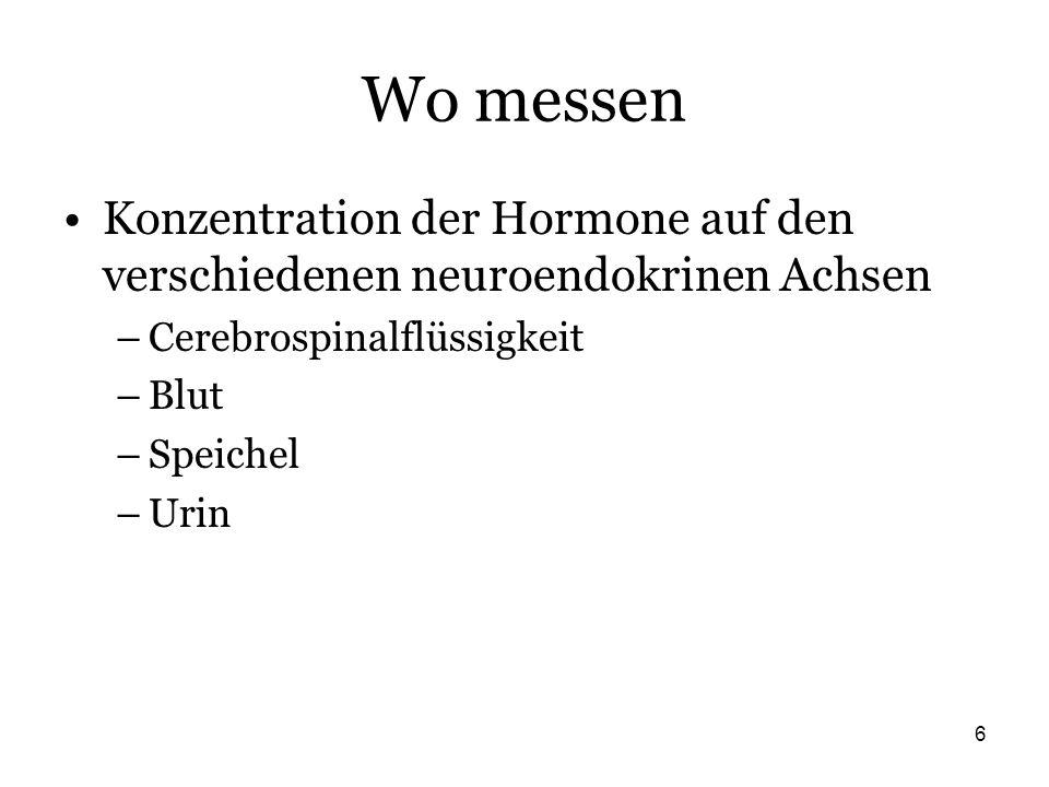Wo messen Konzentration der Hormone auf den verschiedenen neuroendokrinen Achsen. Cerebrospinalflüssigkeit.