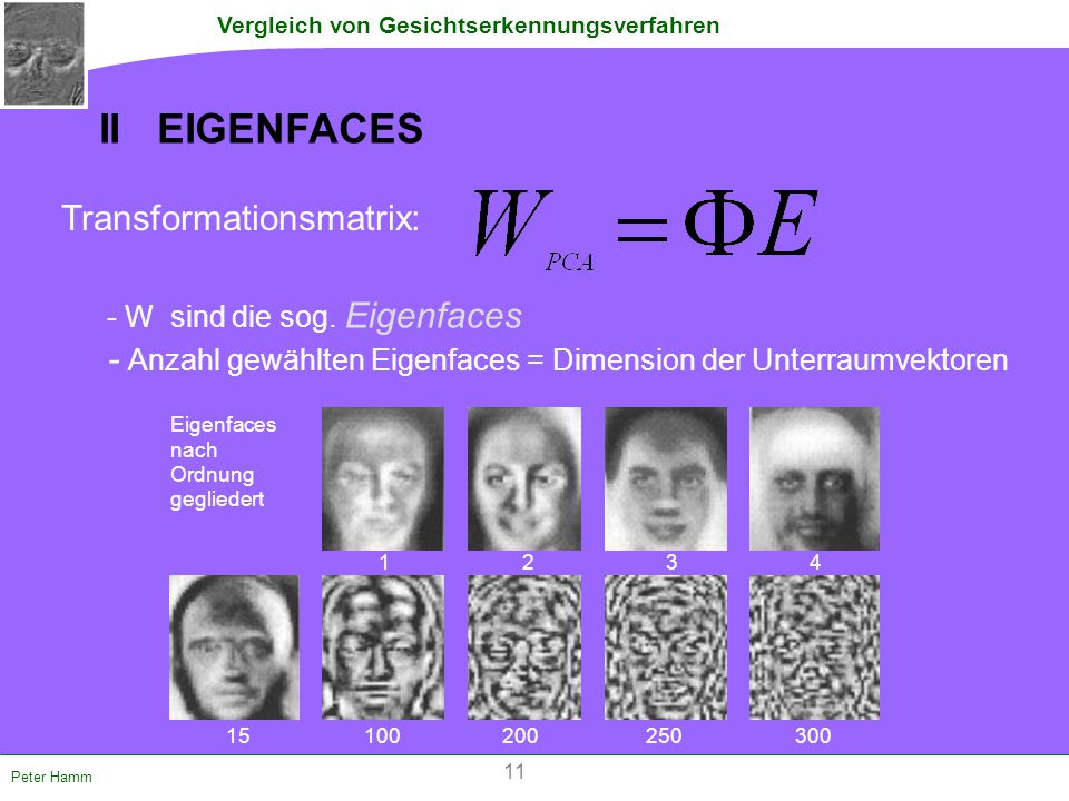 II EIGENFACES Transformationsmatrix: