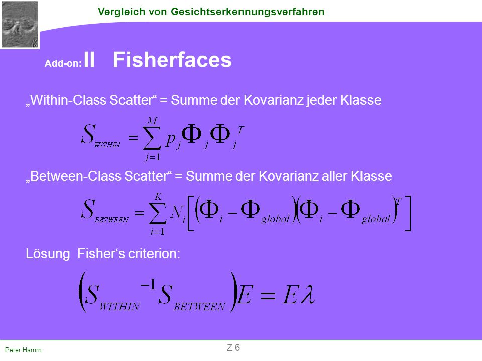 """Within-Class Scatter = Summe der Kovarianz jeder Klasse"