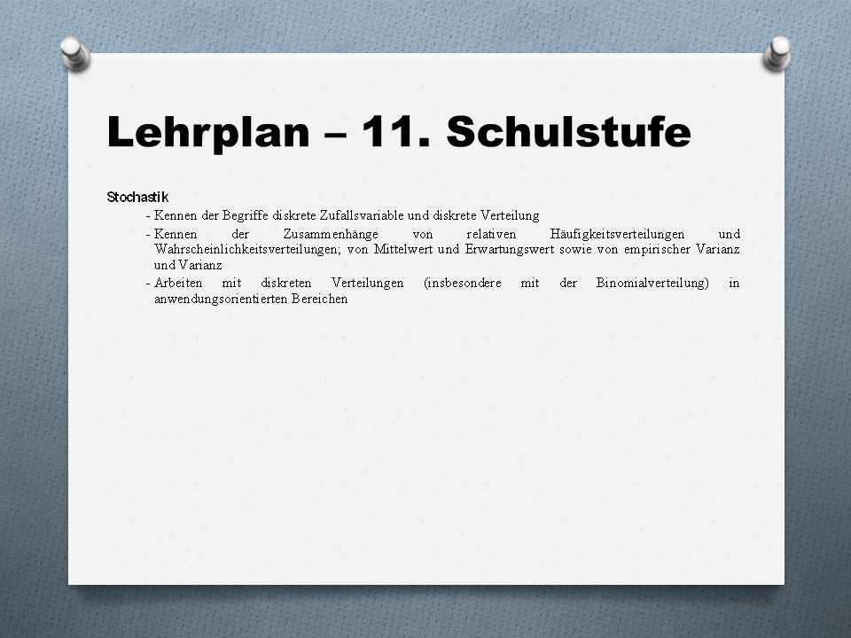 Lehrplan – 11. Schulstufe