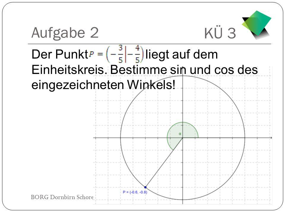 Aufgabe 2 Der Punkt liegt auf dem Einheitskreis.