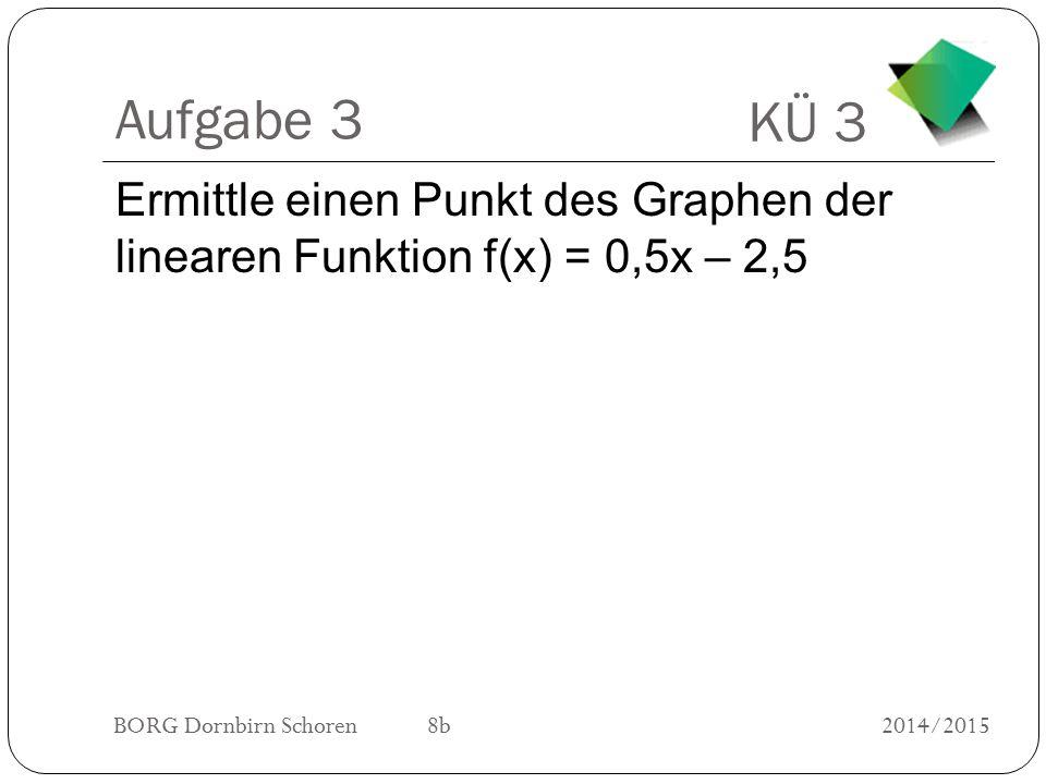 Aufgabe 3 Ermittle einen Punkt des Graphen der linearen Funktion f(x) = 0,5x – 2,5