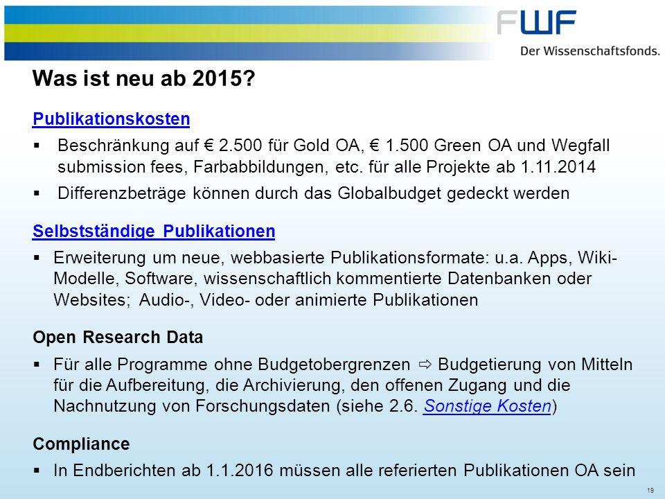 Was ist neu ab 2015 Publikationskosten