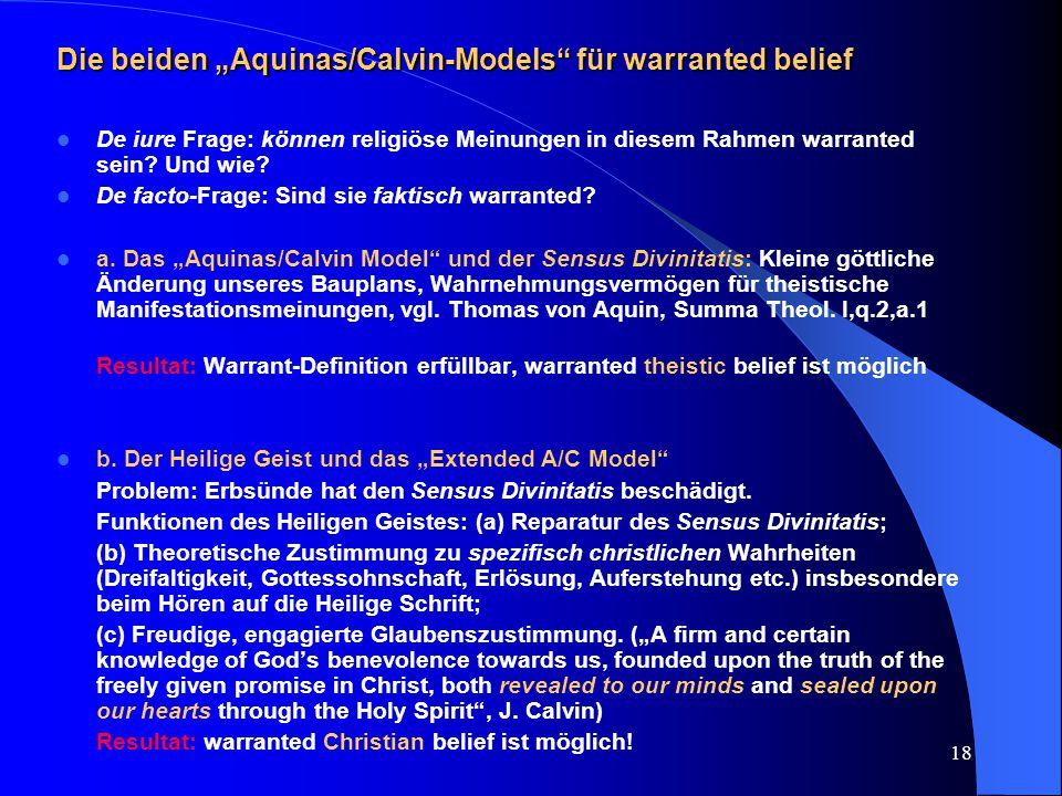 """Die beiden """"Aquinas/Calvin-Models für warranted belief"""