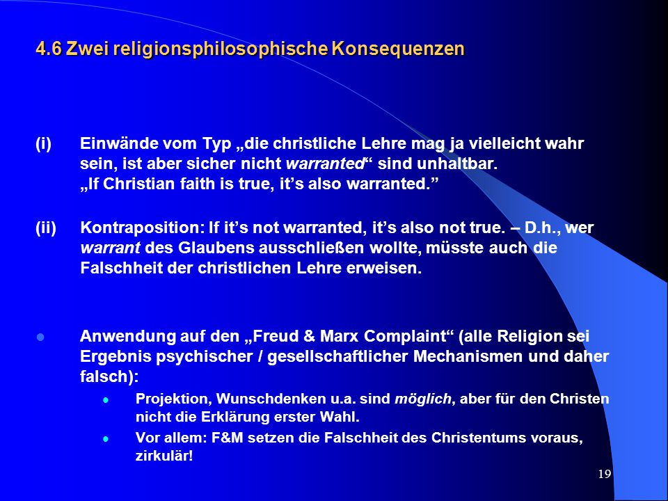 4.6 Zwei religionsphilosophische Konsequenzen