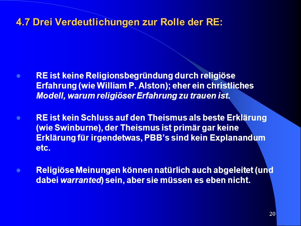 4.7 Drei Verdeutlichungen zur Rolle der RE: