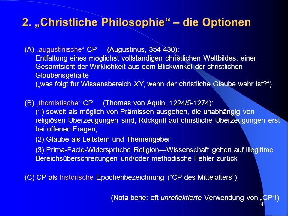 """2. """"Christliche Philosophie – die Optionen"""