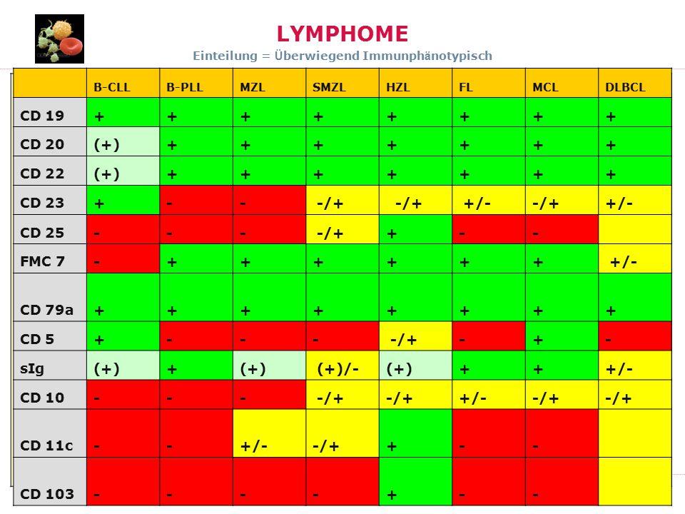 LYMPHOME Einteilung = Überwiegend Immunphänotypisch