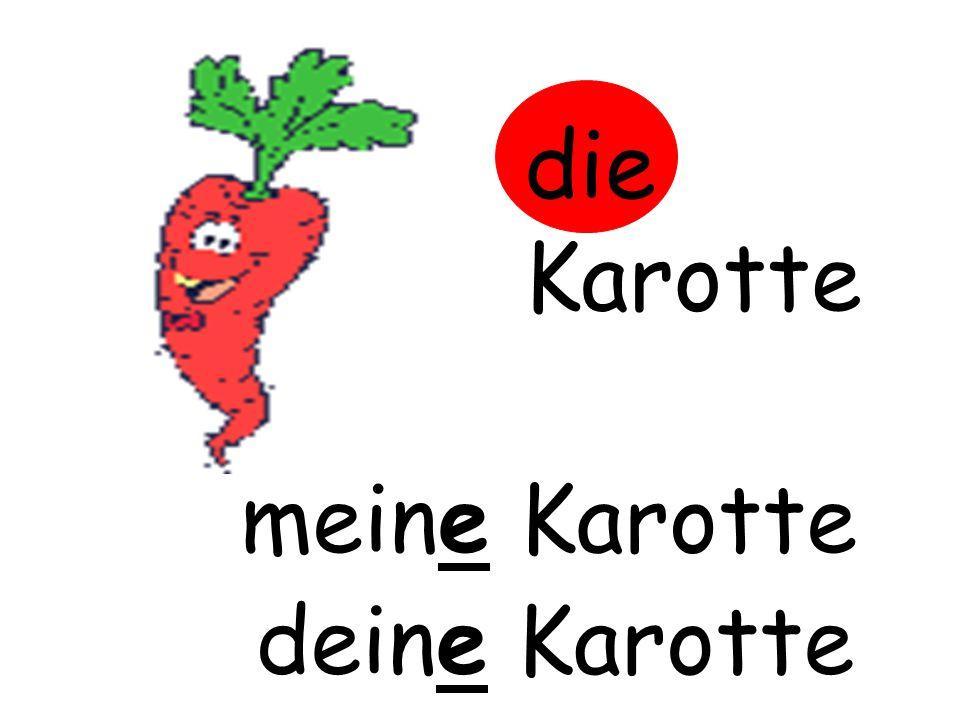 die Karotte m……… Karotte meine Karotte d……… Karotte deine Karotte