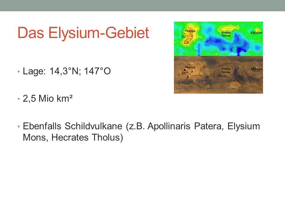 Das Elysium-Gebiet Lage: 14,3°N; 147°O 2,5 Mio km²