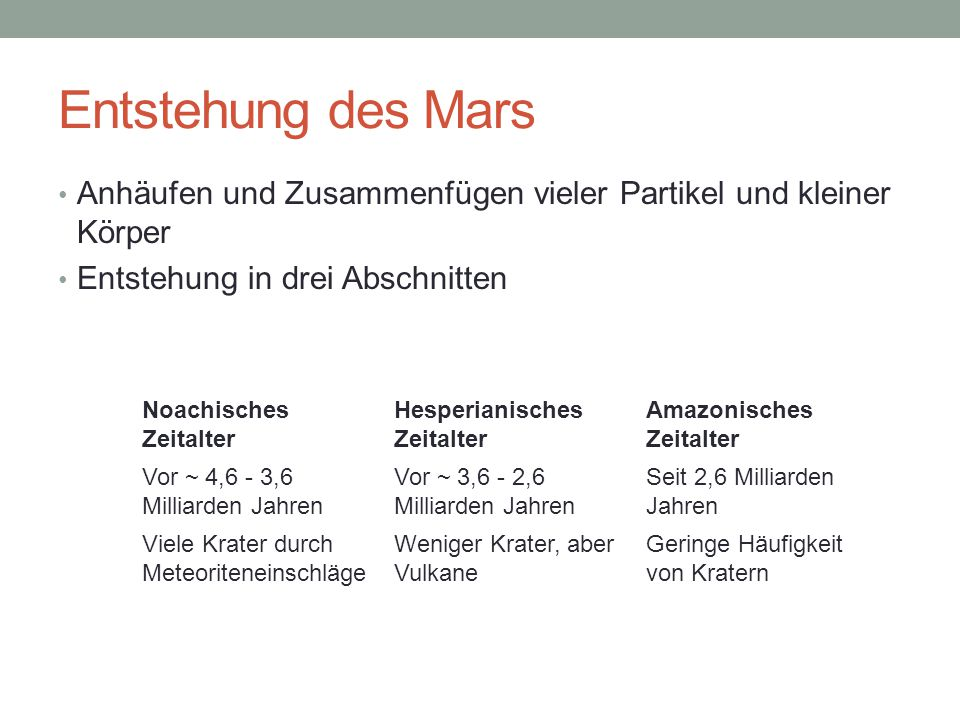 Entstehung des Mars Anhäufen und Zusammenfügen vieler Partikel und kleiner Körper. Entstehung in drei Abschnitten.