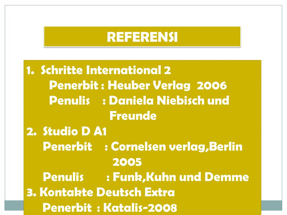 REFERENSI Schritte International 2 Penerbit : Heuber Verlag 2006