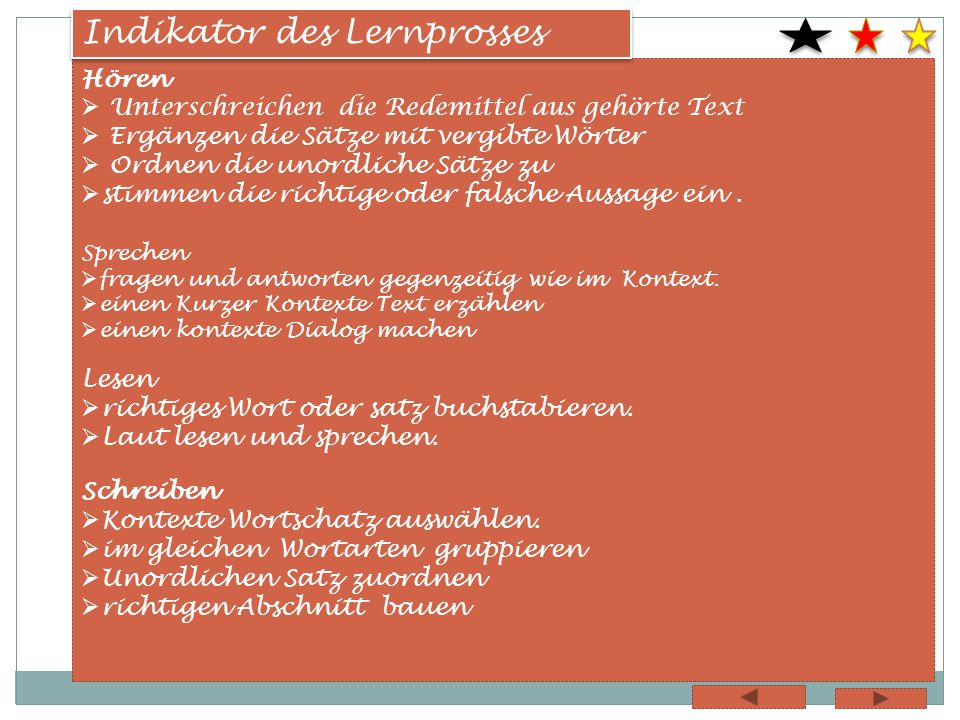 Indikator des Lernprosses