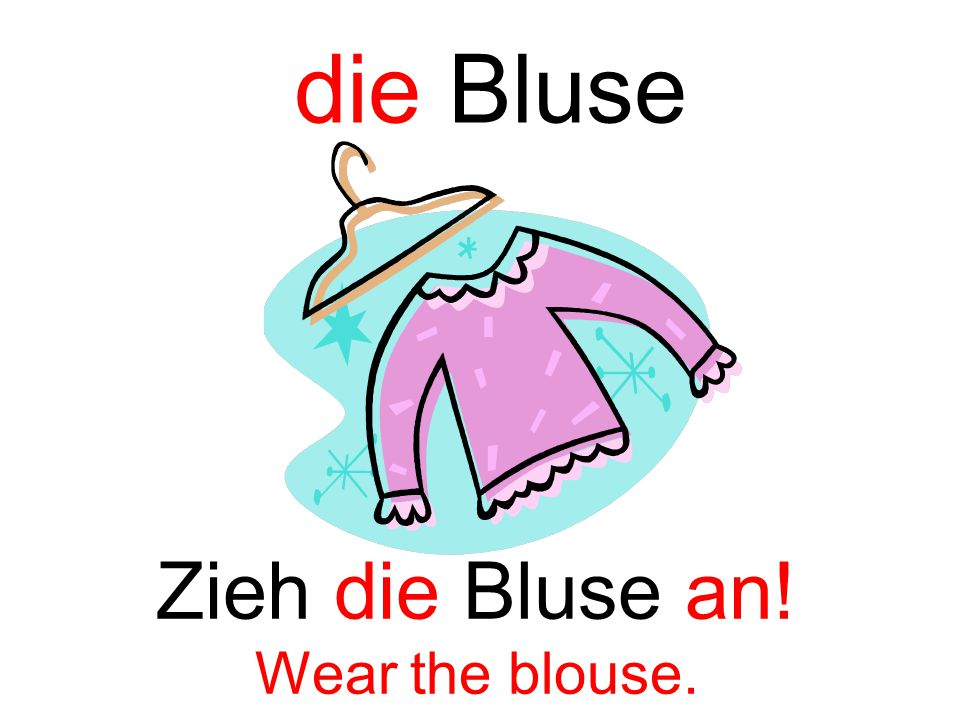 die Bluse Zieh die Bluse an! Wear the blouse.
