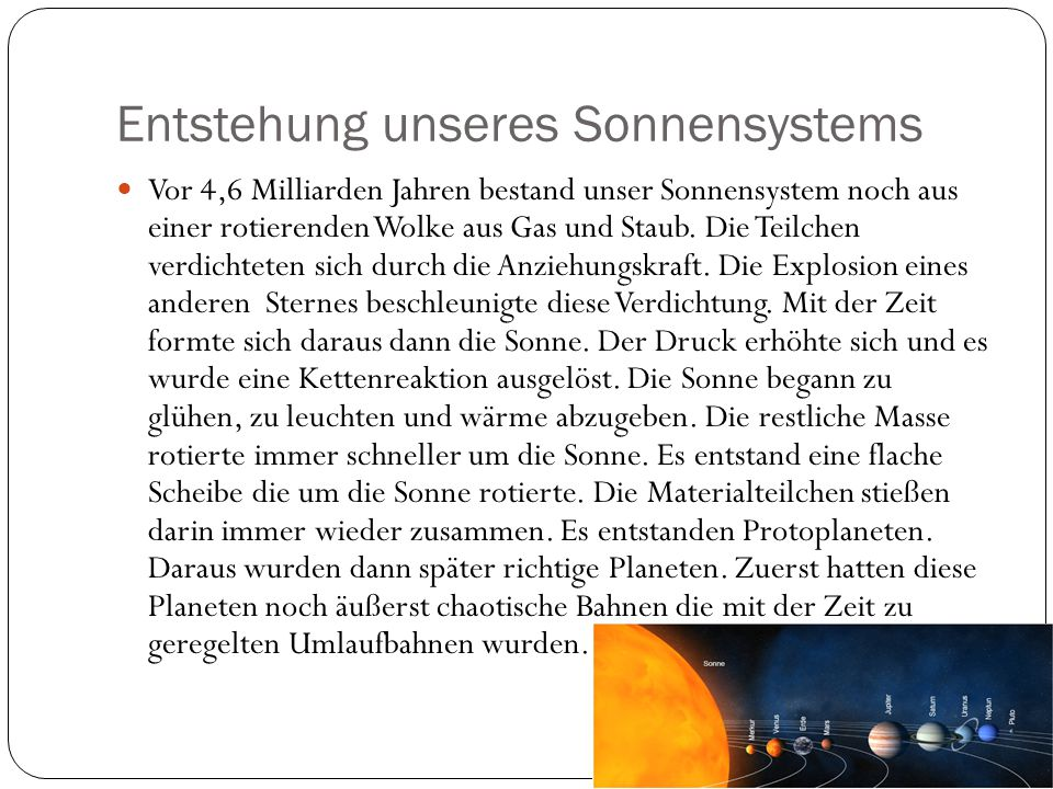 Entstehung unseres Sonnensystems
