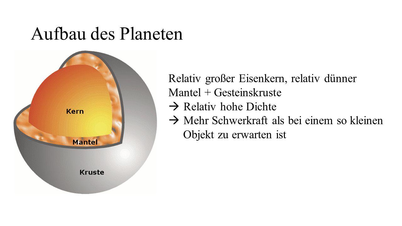 Aufbau des Planeten Relativ großer Eisenkern, relativ dünner Mantel + Gesteinskruste. Relativ hohe Dichte.