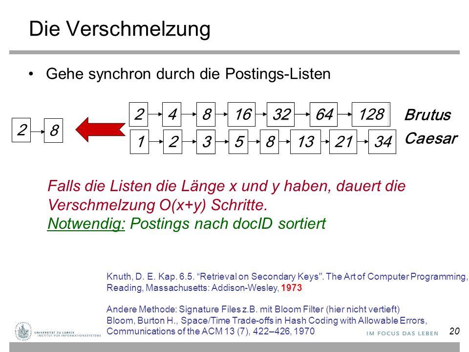 Die Verschmelzung Gehe synchron durch die Postings-Listen 34 128 2 4 8
