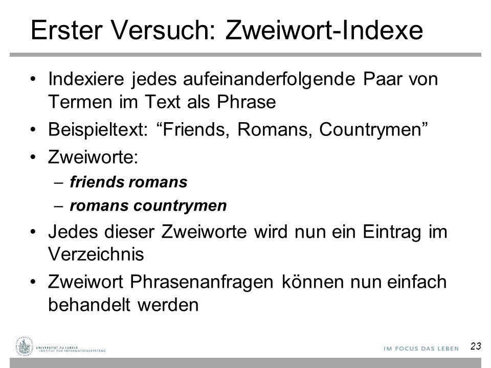 Erster Versuch: Zweiwort-Indexe