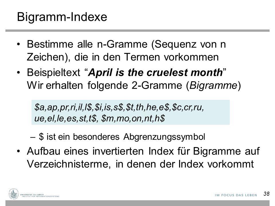 Bigramm-Indexe Bestimme alle n-Gramme (Sequenz von n Zeichen), die in den Termen vorkommen.