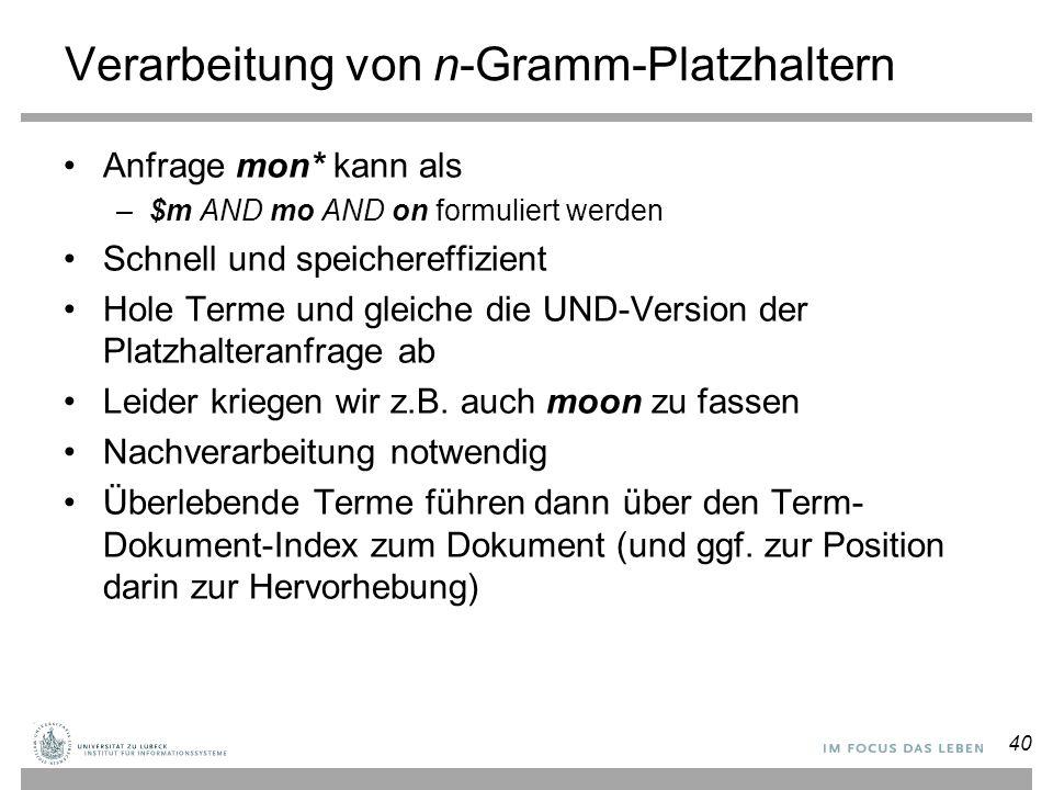 Verarbeitung von n-Gramm-Platzhaltern