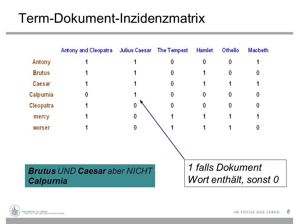 Term-Dokument-Inzidenzmatrix