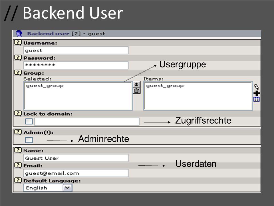 // Backend User Usergruppe Zugriffsrechte Adminrechte Userdaten
