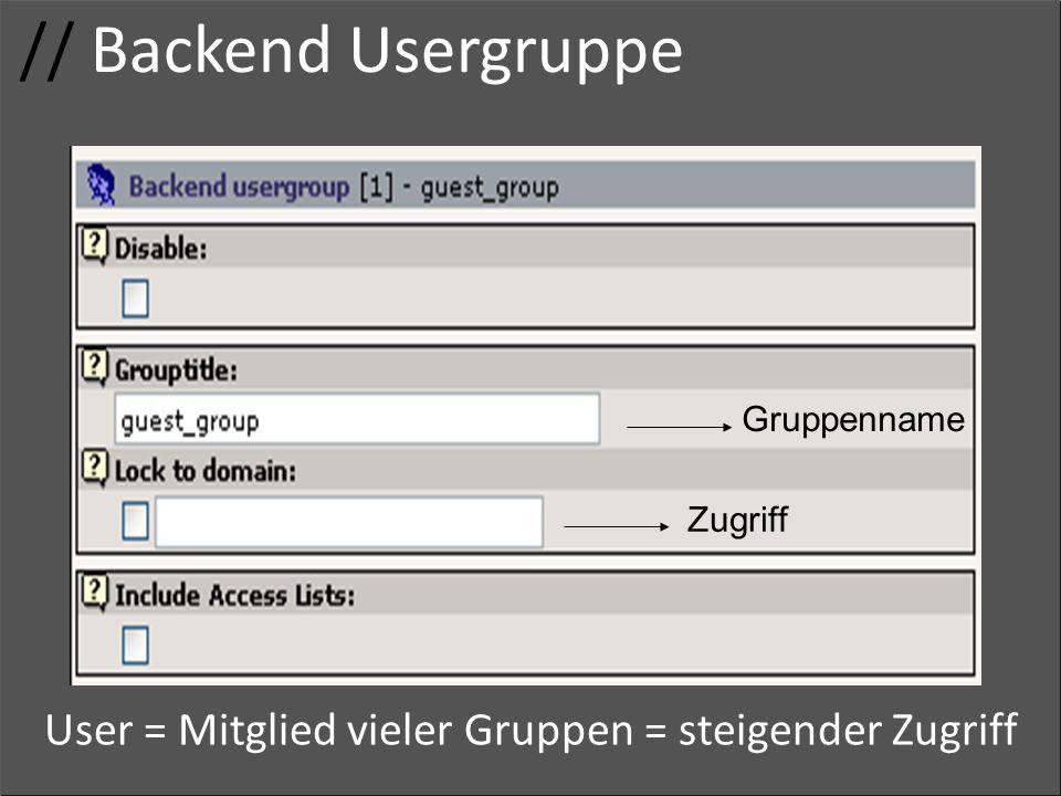 // Backend Usergruppe Usergruppe. Gruppenname. Zugriffsrechte.