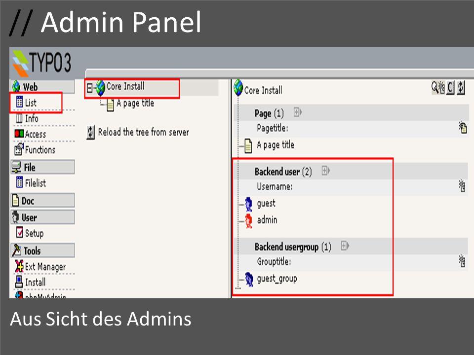 // Admin Panel Aus Sicht des Admins Usergruppe Gruppenname