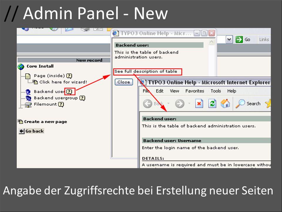 // Admin Panel - New Usergruppe. Gruppenname. Zugriffsrechte.