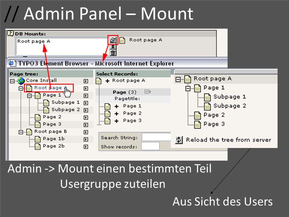 // Admin Panel – Mount Admin -> Mount einen bestimmten Teil