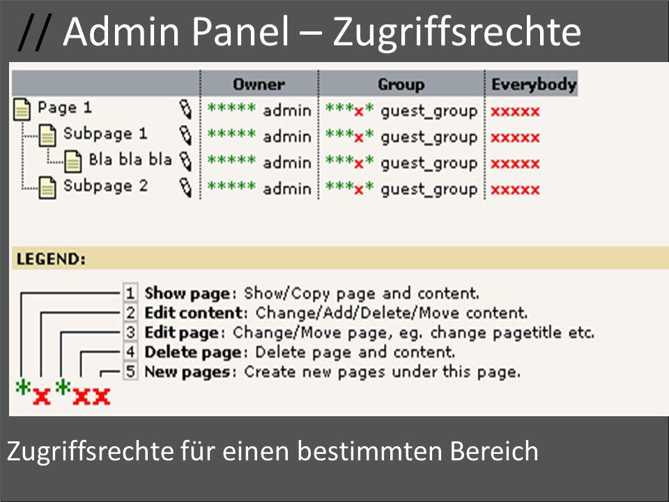 // Admin Panel – Zugriffsrechte