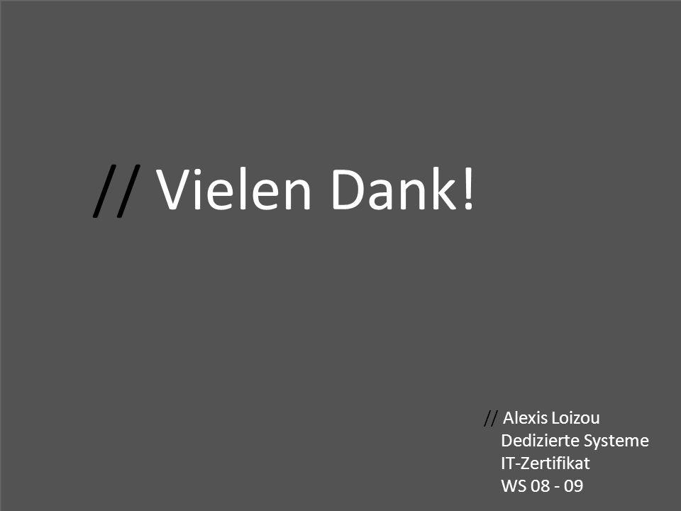// Vielen Dank! // Alexis Loizou Dedizierte Systeme IT-Zertifikat