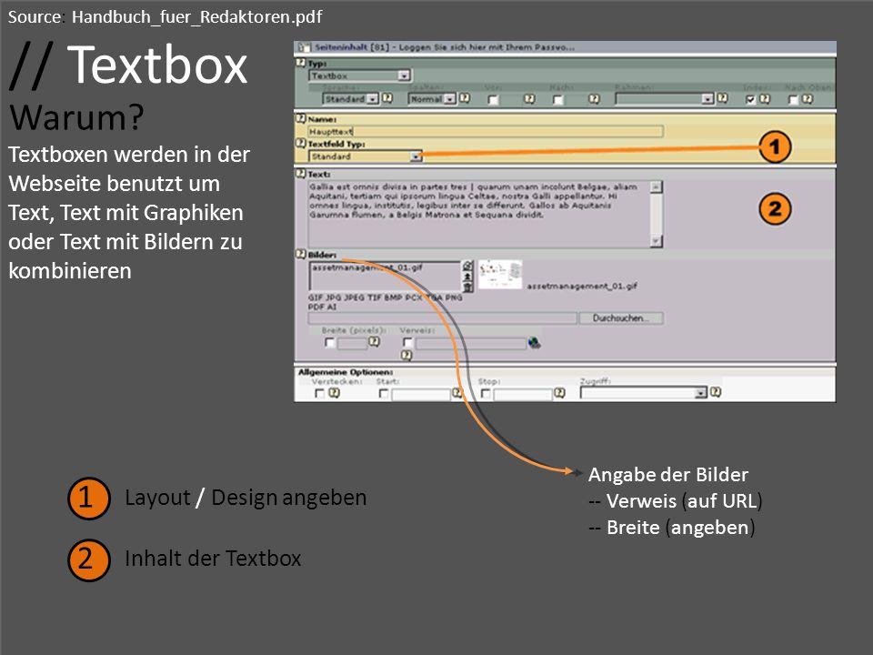 // Textbox Warum 1 2 Textboxen werden in der