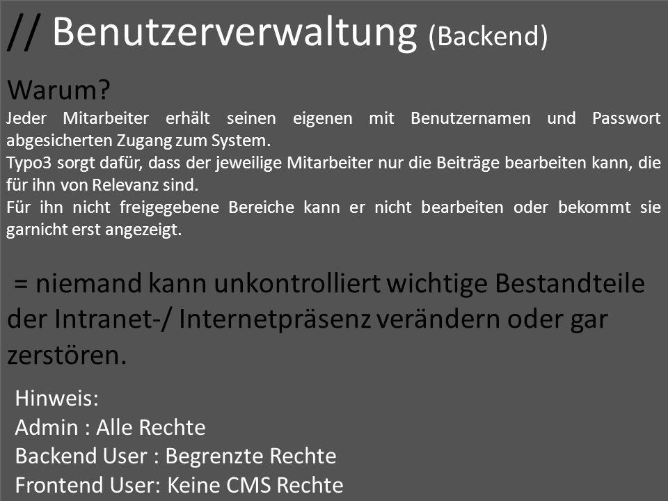 // Benutzerverwaltung (Backend)