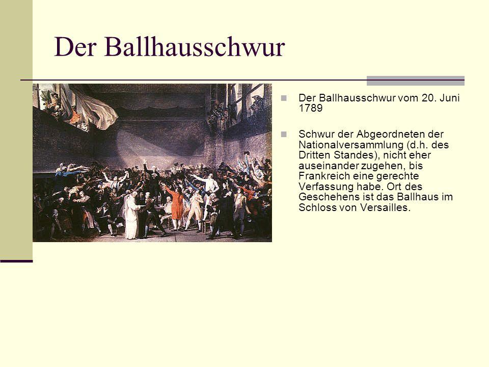 Der Ballhausschwur Der Ballhausschwur vom 20. Juni 1789