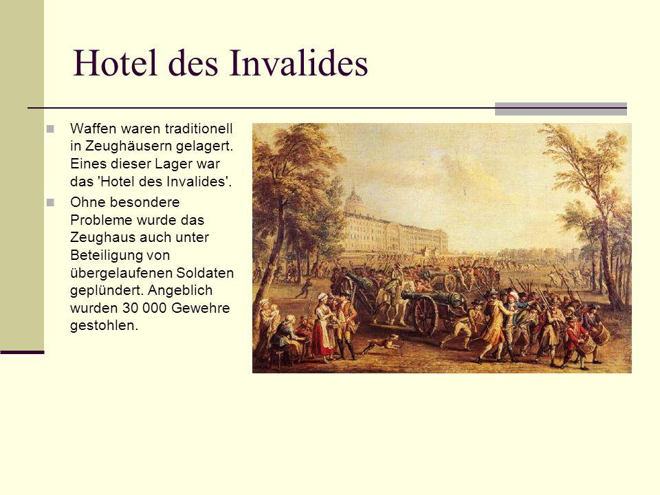 Hotel des Invalides Waffen waren traditionell in Zeughäusern gelagert. Eines dieser Lager war das Hotel des Invalides .