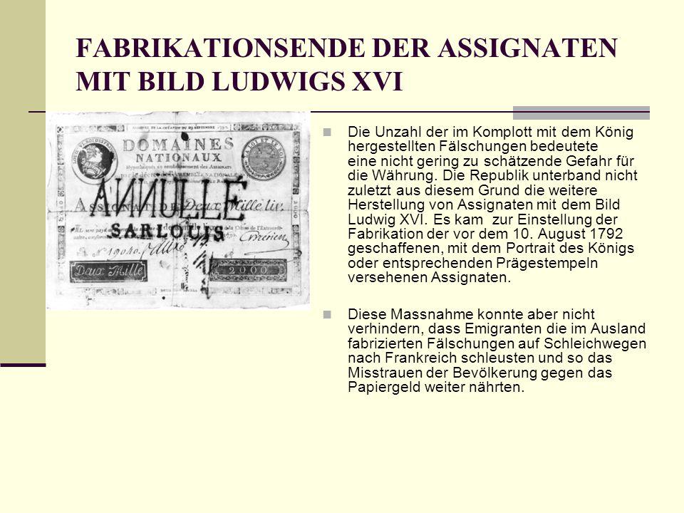 FABRIKATIONSENDE DER ASSIGNATEN MIT BILD LUDWIGS XVI