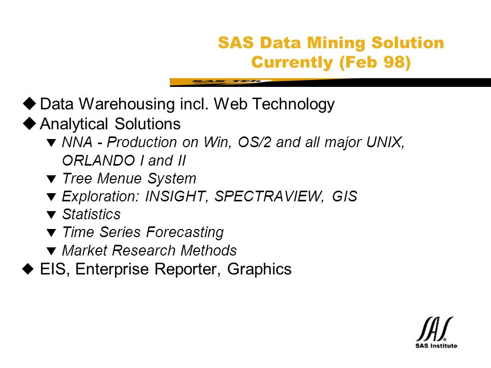 SAS Data Mining Solution Currently (Feb 98)