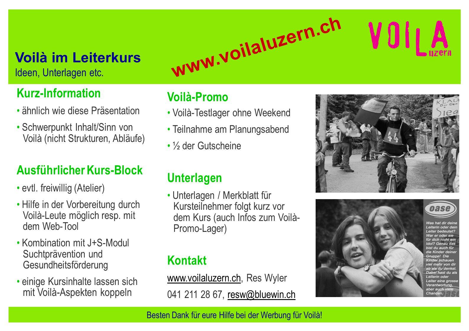 Besten Dank für eure Hilfe bei der Werbung für Voilà!