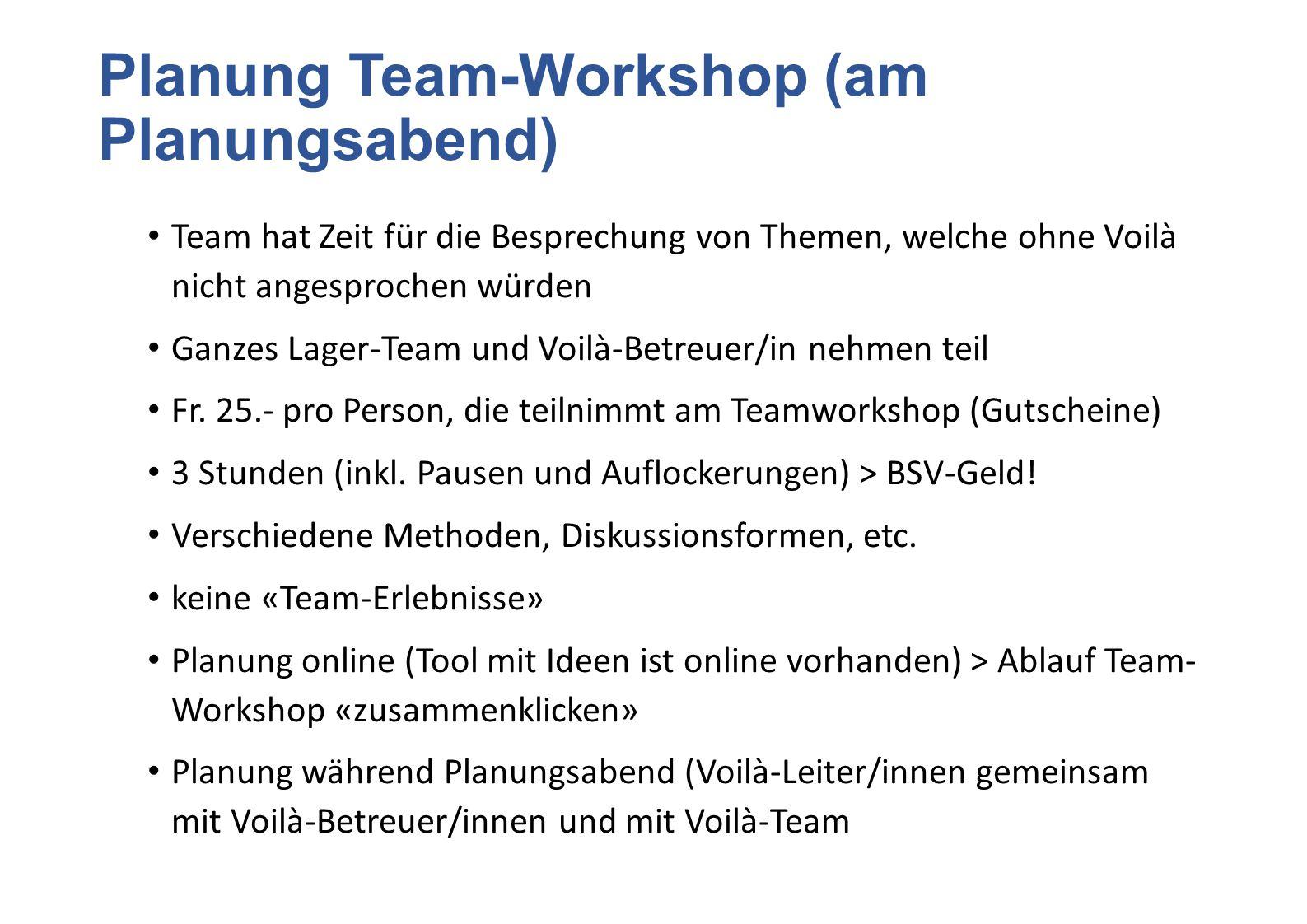 Planung Team-Workshop (am Planungsabend)