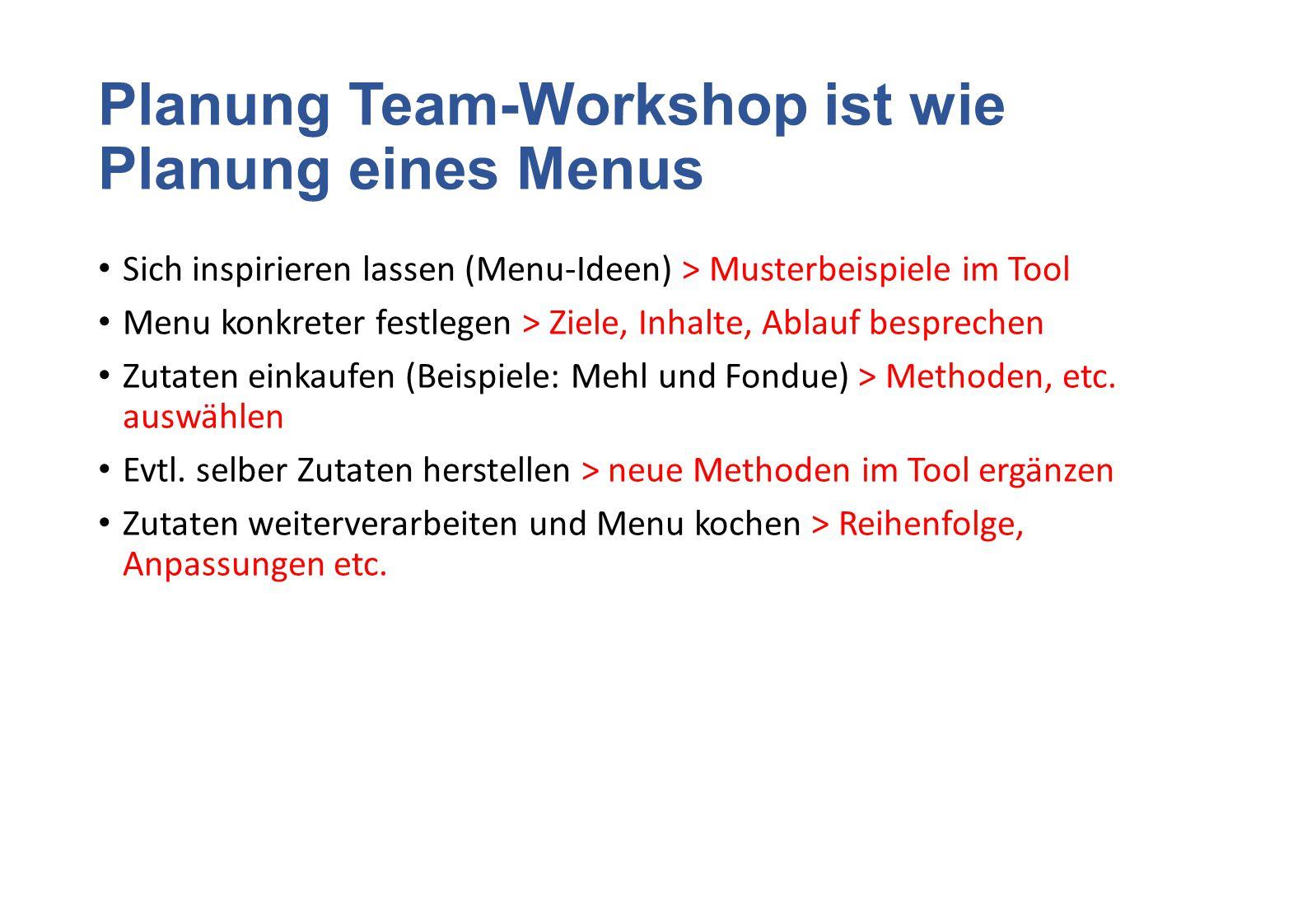 Planung Team-Workshop ist wie Planung eines Menus