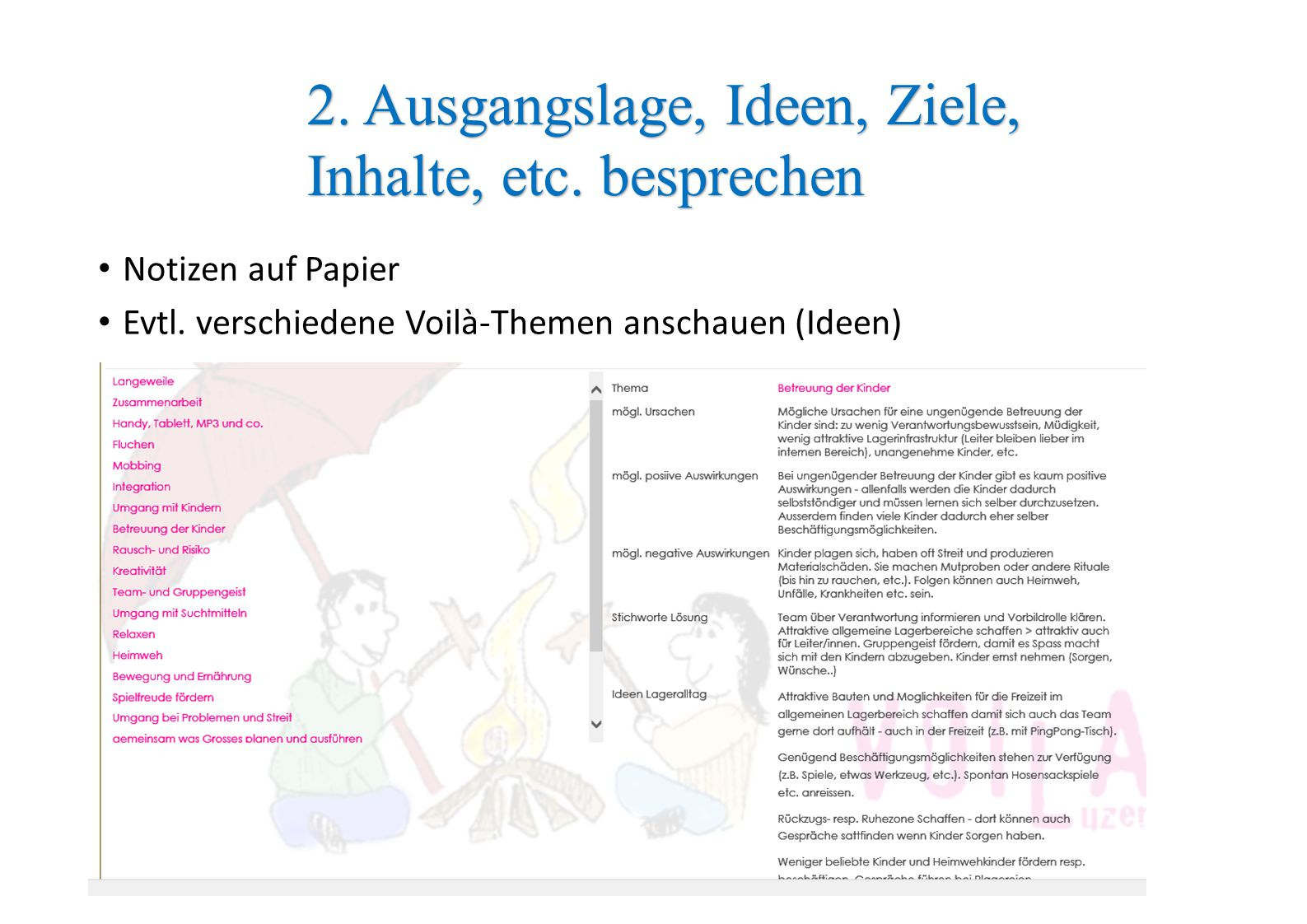 2. Ausgangslage, Ideen, Ziele, Inhalte, etc. besprechen