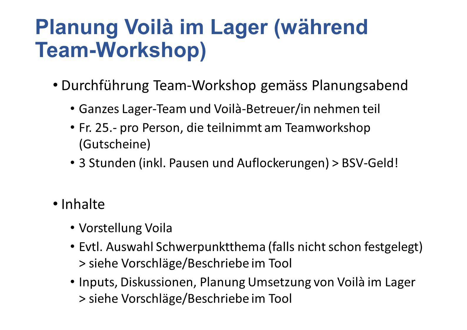Planung Voilà im Lager (während Team-Workshop)