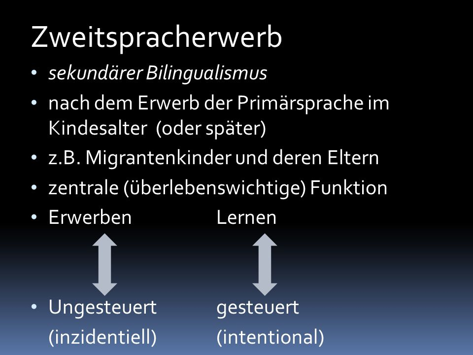 Zweitspracherwerb sekundärer Bilingualismus