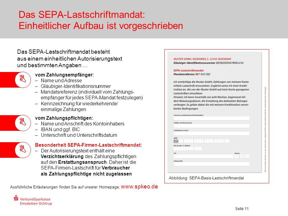 Das SEPA-Lastschriftmandat: Einheitlicher Aufbau ist vorgeschrieben