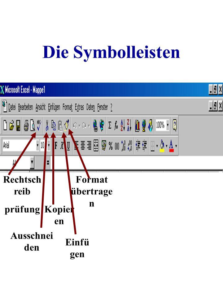 Die Symbolleisten Rechtschreib prüfung Format übertragen Kopieren