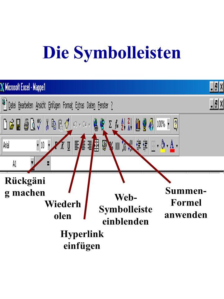 Summen-Formel anwenden Web-Symbolleiste einblenden