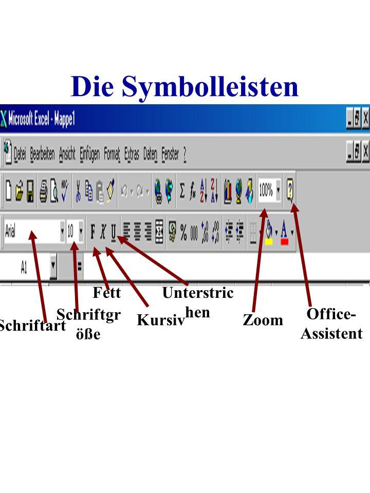 Die Symbolleisten Fett Unterstrichen Schriftgröße Office-Assistent