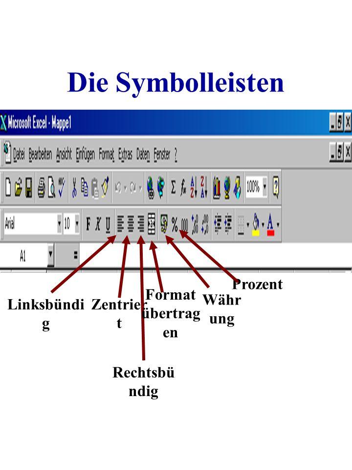 Die Symbolleisten Prozent Format übertragen Währung Linksbündig