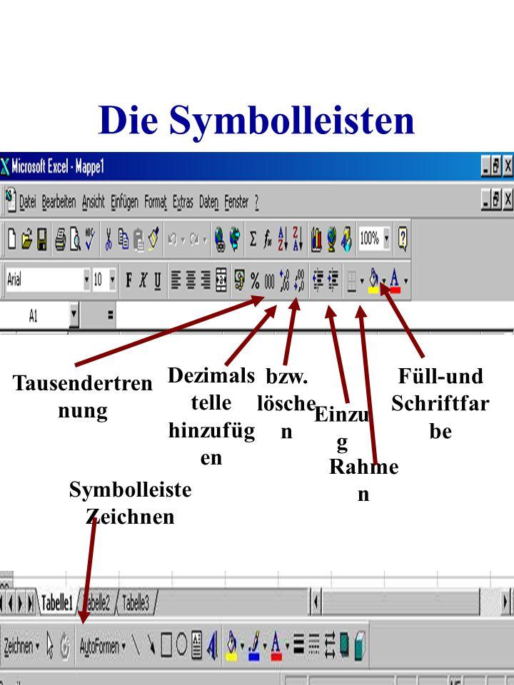 Dezimalstelle hinzufügen Füll-und Schriftfarbe Symbolleiste Zeichnen